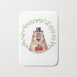 "Watercolor painting ""Sir Capybara"" Bath Mat"