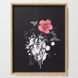 Anatomical heart with flower Serving Tray