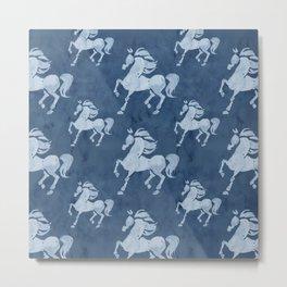 Blue Horses Pattern II Metal Print