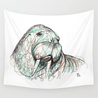 walrus Wall Tapestries featuring Walrus by Ursula Rodgers