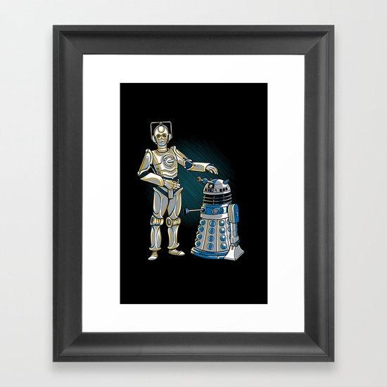 Cyber3PO and R2Dalek Framed Art Print