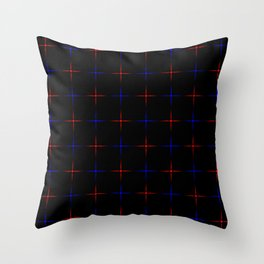 Bright dark blue and red stars on a black background. Throw Pillow