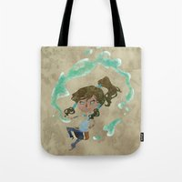 chibi Tote Bags featuring Chibi Korra by Serena Rocca