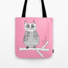 Pink Owl Gives A Hoot Tote Bag