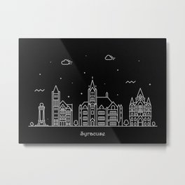 Syracuse, NY Minimal Nightscape / Skyline Drawing Metal Print