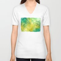 lime green V-neck T-shirts featuring Watercolor Lime by MadC Productions
