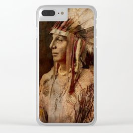 'Cree Warrior', Native American Indian Clear iPhone Case