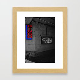 Red Bingo Italian Street Photography Black and White Framed Art Print