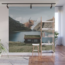 The Creature at the Cottage in the Faroe Islands Denmark-Travel and Nautre Wall Mural