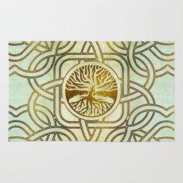 Golden Tree of life  -Yggdrasil on vintage paper Rug