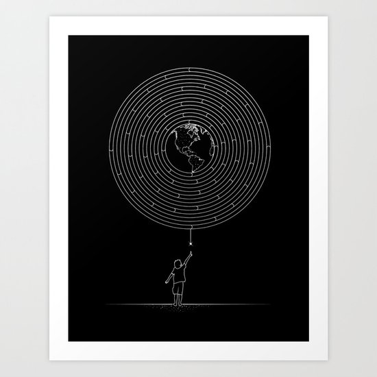 I Dream To Explore The World (Black) Art Print