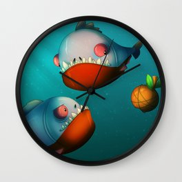 Hungry Piranhas Wall Clock