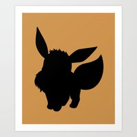 eevee Art Prints featuring Eevee Silhouette  by Jessica Wray