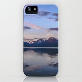 sunset at lake mcdonald iPhone Case