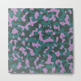 African Jungle Violet Camouflage Metal Print