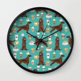 Irish Setter coffee latte dog breed cute custom pet portrait for dog lovers Wall Clock