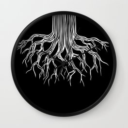 Tree Root Drawing (white on black) Wall Clock