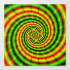Double Spiral in Green and Orange Canvas Print
