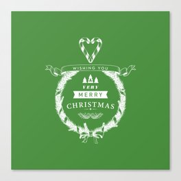 Merry Christmas - Green Canvas Print