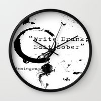 hemingway Wall Clocks featuring Hemingway Writing Quote by Novel Reveries