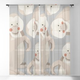 Orang Utan, Animal Portrait Sheer Curtain
