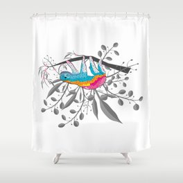 Happy Spring Sloth Shower Curtain