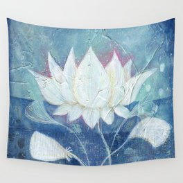 Abstract Lotus Art Acrylic Painting Reproduction by Kimberly Schulz Wall Tapestry