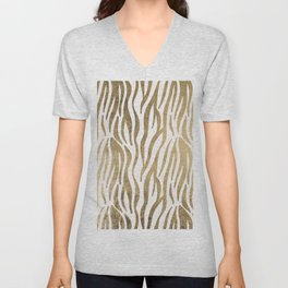 Chic faux gold white modern zebra animal print pattern Unisex V-Neck