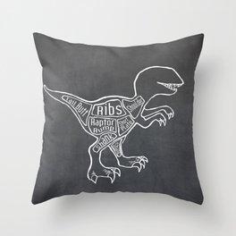 Raptor Dinosaur (A.K.A Bird of Prey) Butcher Meat Diagram Throw Pillow