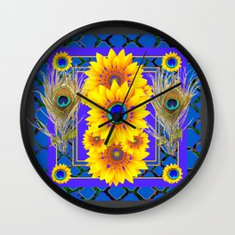 GREY-BLUE PEACOCK  SUNFLOWERS DECO JEWELED ABSTRACT  FLORAL Wall Clock