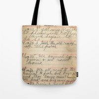 my mad fat diary Tote Bags featuring My Great Grandpa's Diary by Melinda Harris Photography