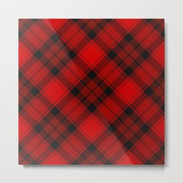 Red Tartan with Diagonal Dark Red and Black Stripes. Large-Scale Checkered Plaid Pattern. Metal Print