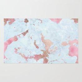 Rose Gold Foil on Summer Blue Marble Rug