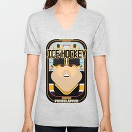 Ice Hockey Black and Yellow - Faceov Puckslapper - Bob version Unisex V-Neck