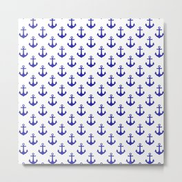 Anchors (Navy Blue & White Pattern) Metal Print