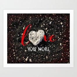 """Love You More"" Hawaii Beach with Coral Heart Photo Art Print"