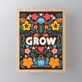 GROW floral Framed Mini Art Print