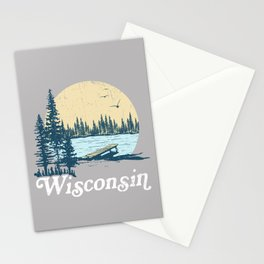 Vintage Wisconsin Dock on a Lake Stationery Cards
