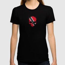 Flag of Trinidad and Tobago on a Chaotic Splatter Skull T-shirt