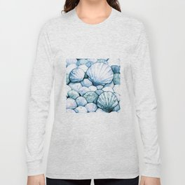 Sea Shells Teal Long Sleeve T-shirt