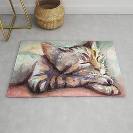 Cute Sleeping Kitten Watercolor Rug