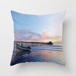 Dory Sunset Newport Beach Pier Throw Pillow