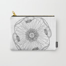 Poppy Flower Mandala - Color Your Own  Carry-All Pouch