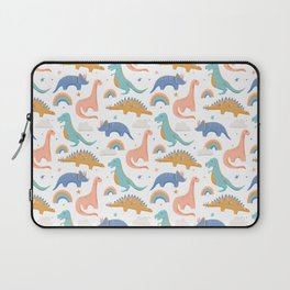 Dinosaurs + Rainbows in Blush Pink + Gold + Blue Laptop Sleeve