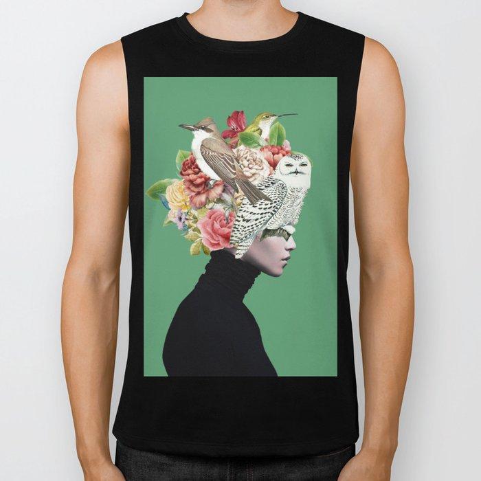 Lady with Birds(portrait) 2 Biker Tank