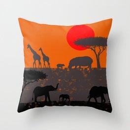 Elephants in the savanna Throw Pillow