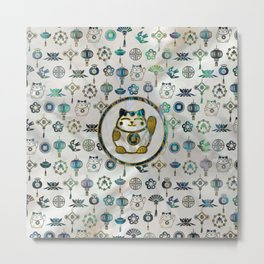 Maneki Neko Lucky cat on  pearl and abalone Metal Print