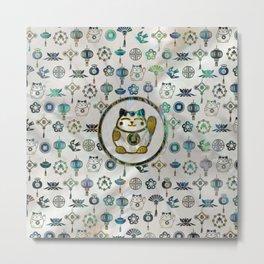 Maneki Neko Lucky cat on  pearl and abalone Metal Print