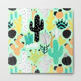 Cactus Crazy in Mint - Large Scale Metal Print