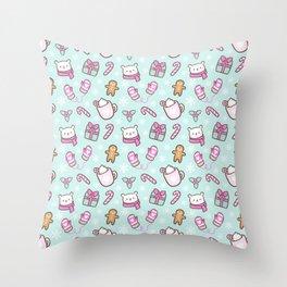 Cute Christmas // Green Throw Pillow